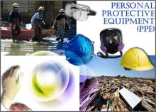 A collage of public health emergency response situations involving personal protective equipment